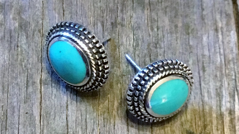 Turquoise Bali Stud Earrings