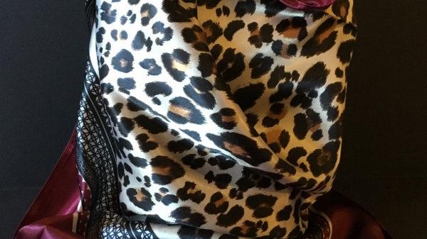 Tibetan Red Leopard print Wild Rag