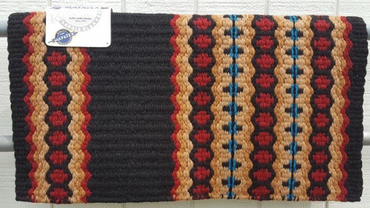 Canyon Land 1457-9 Black Red Turquoise Show Saddle Blanket Mayatex