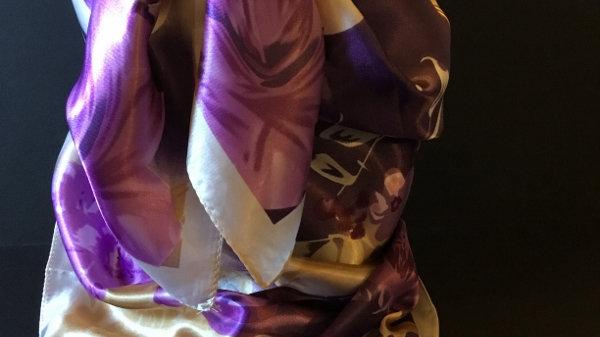 Royal Lilac and Lavender Flower Print Wild Rag