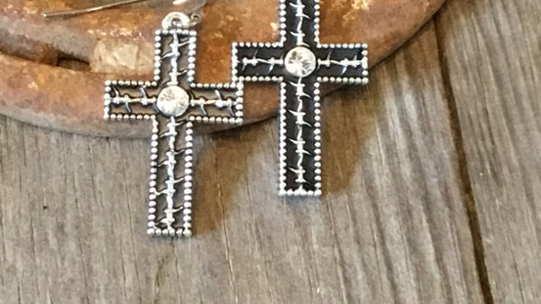 Barbed Wire Cross Earrings