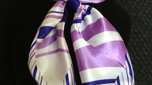 Royal Blue and Lavender Stripe Show Scarf
