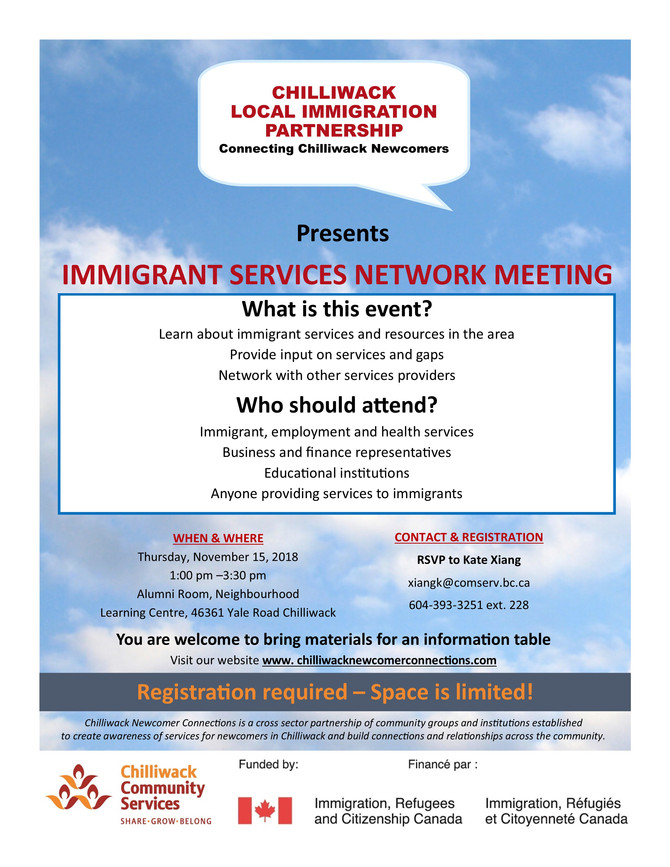 Please RSVP: Immigrant Services Network Meeting Thursday November 15, 2018