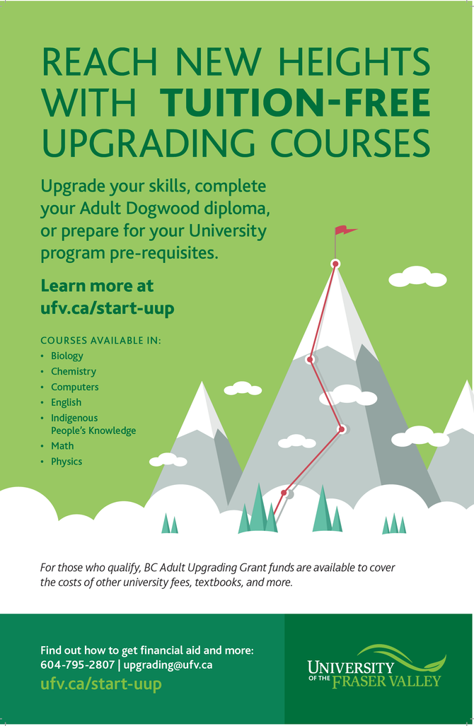 University of the Fraser Valley:  Tuition Free upgrading courses