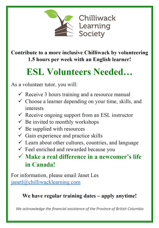 ESL Volunteers Needed