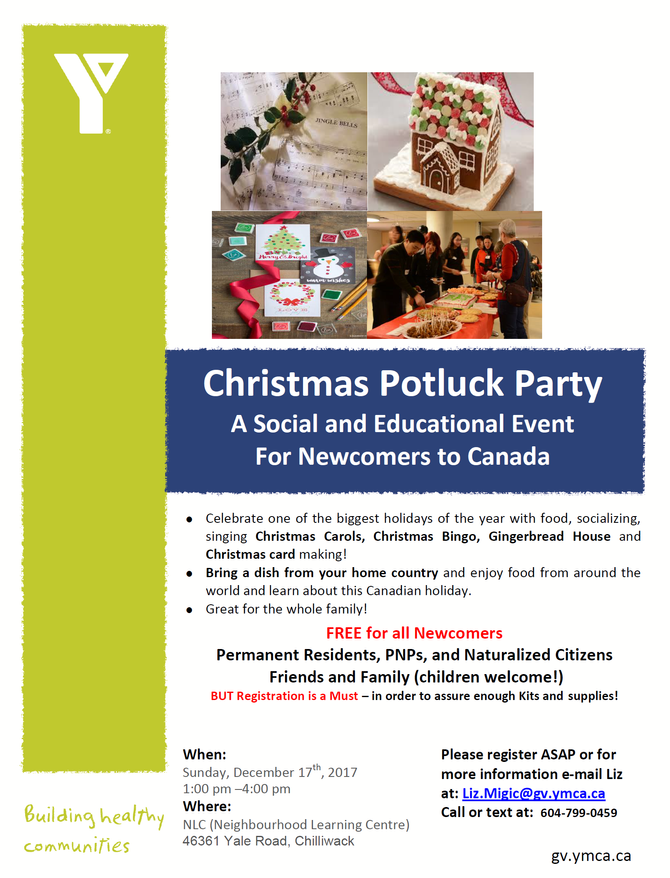 YMCA December Christmas Potluck Party- Free for all Newcomers