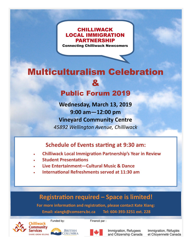 Multiculturalism Celebration &  Local Immigration Partnership Public Forum March 13th, 2019