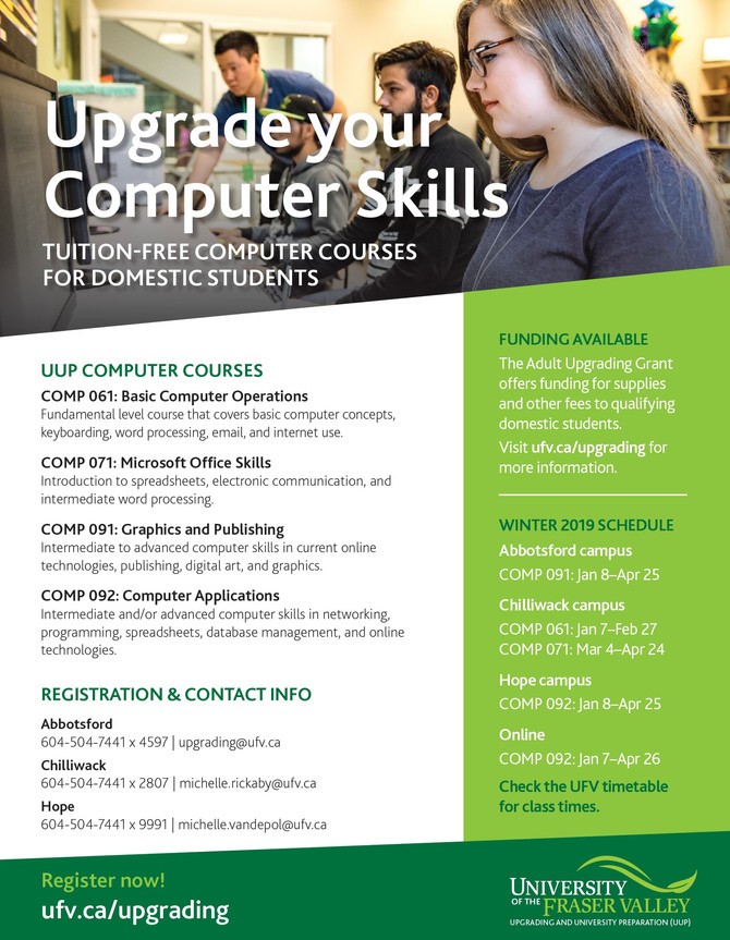 Looking for tuition free computer upgrading courses? UFV do have space in the January class!