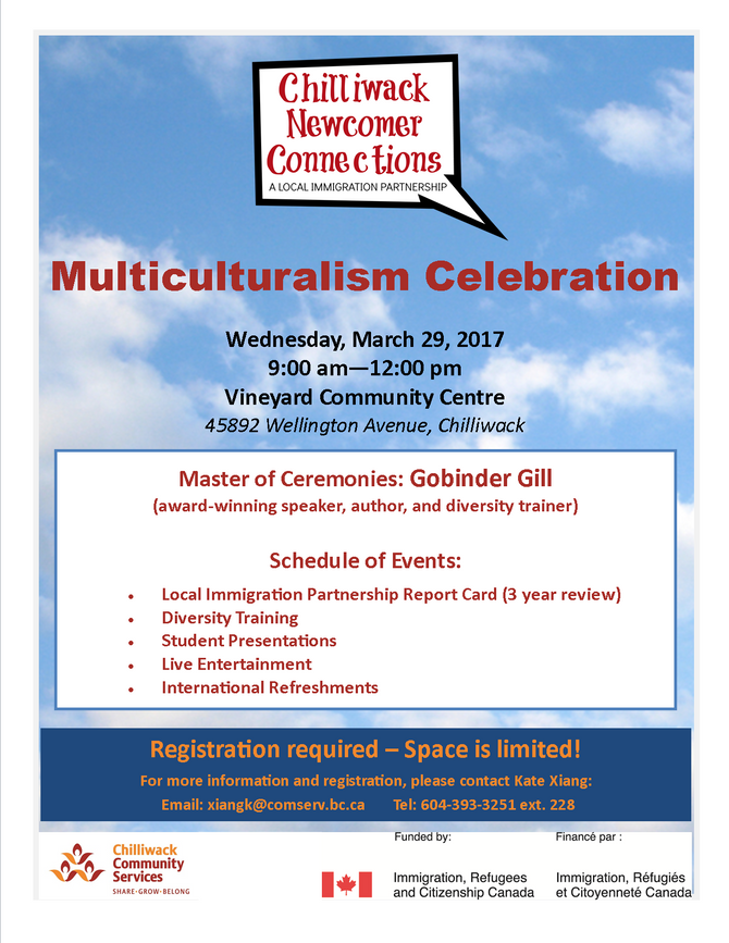 Invitation: Chilliwack Newcomer Connections Multiculturalism Celebration March 29th , 2017