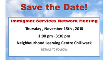 Save the date: Immigrant Services Network Meeting - November 15,2018