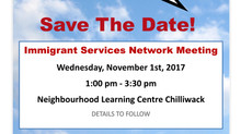 Save The Date: Chilliwack Immigrant Services Network Meeting 2017