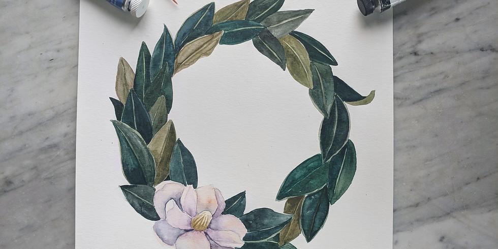 Watercolor Magnolia Wreaths - with SkillPop Nashville