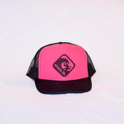 Trucker Hat ~ Black on Hot Pink