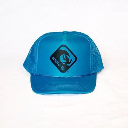 Trucker Hat ~ Black on Blue