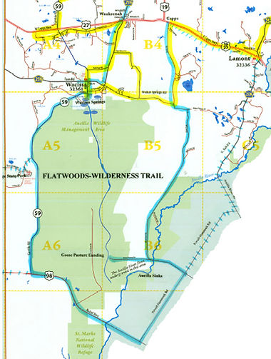 Map of Flatwoods Wilderness Trail