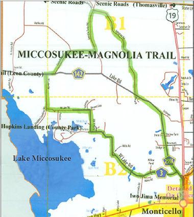Map of the Miccosukee-Magnolia scenic trail