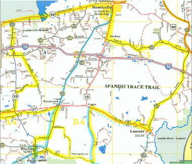 Map of the Spanish Trace Heritage Roads trail