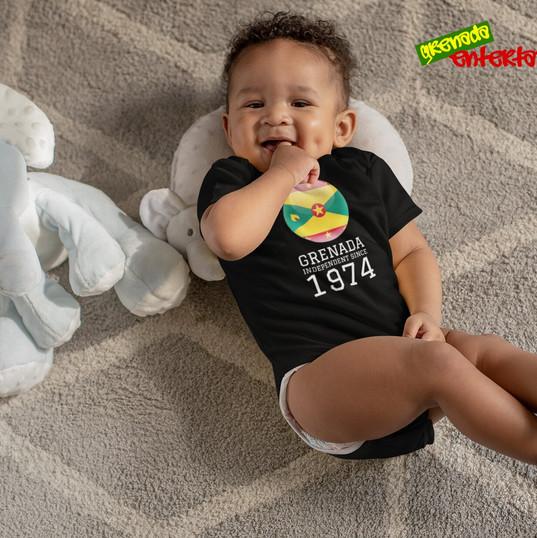 Baby Onsie Black Happy Birthday Grenada.