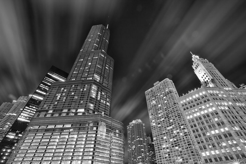 Trump Tower Clouds  BW