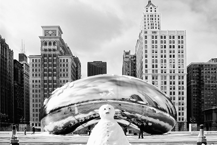 Snowman Bean BW