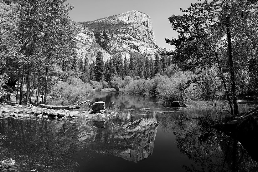 Mirror Lake Reflections BW