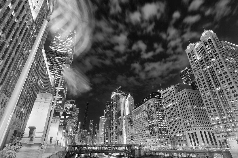 Chicago Night Sky BW