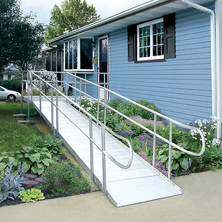 Armada aluminum residential wheel chair ramp with hand rails