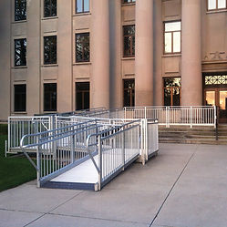 Installed commercial aluminum ramp in front of an office building