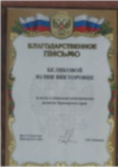 Благодарность_от врио губернатора Кожемя