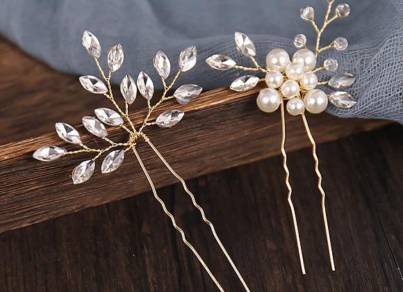 Set of 2 Crystal Pearl Hair Pins