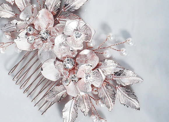 Blush Pink and Copper Hair Comb