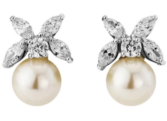 Delicate Pearl Leaf Earrings