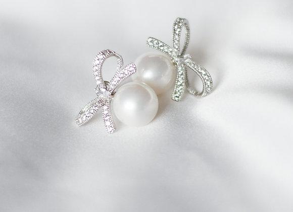 Pearl Bow Stud Earrings