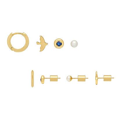 Gold Earring Quad Bird EB