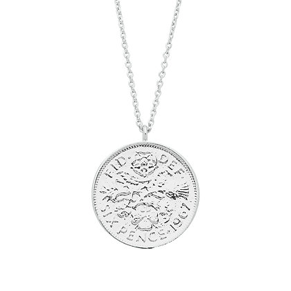 Silver Six Pence Necklace EB