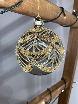 Smoked With Gold Swags Bauble