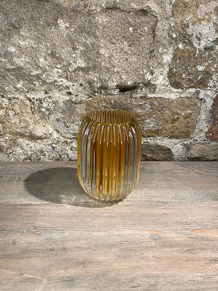 Tall Ribbed Glass Tealight Grey