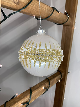 Large Glitter & Pearl Saturn Bauble