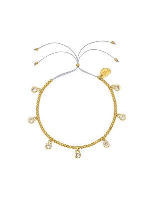 Gold CZ Circle Charm Bracelet EB