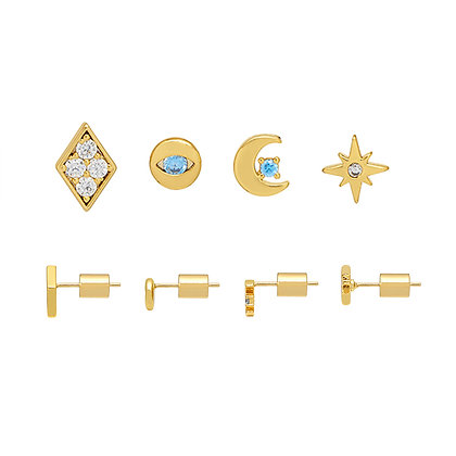 Gold Earring Quad Celestial EB