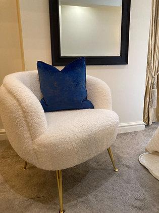 Gold Marble Velvet Cushion Blue
