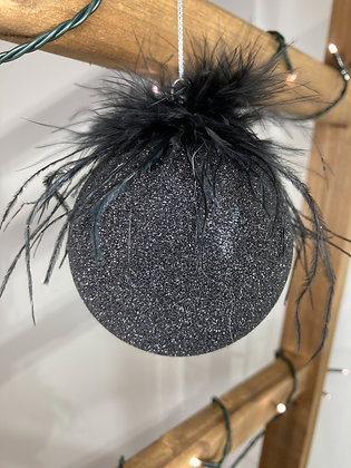 Black Glitter Feather bauble