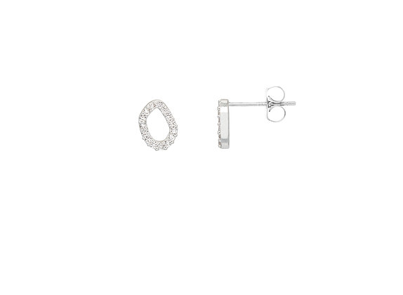CZ Off Circle Silver Earings EB