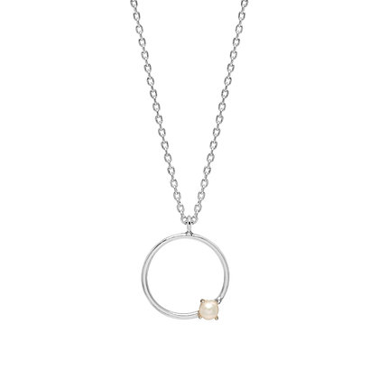 Silver Circle With Pearl Necklace EB