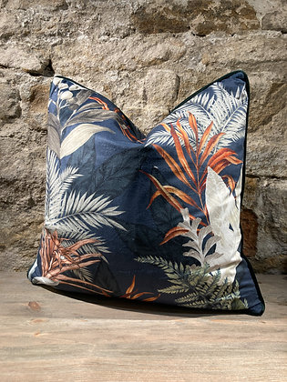 Blues Foliage Velvet Cushion
