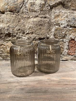 Gold Charm Detail Ribbed Jar