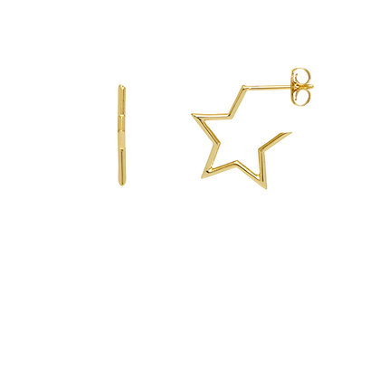Silver/ Gold Star Hoops EB