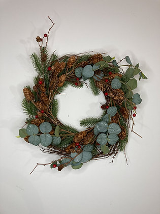 Eucalyptus & Red Berry Wreath