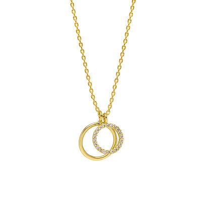 Gold CZ Double Circle Necklace EB