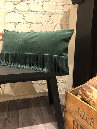 Green Fringe Cushion